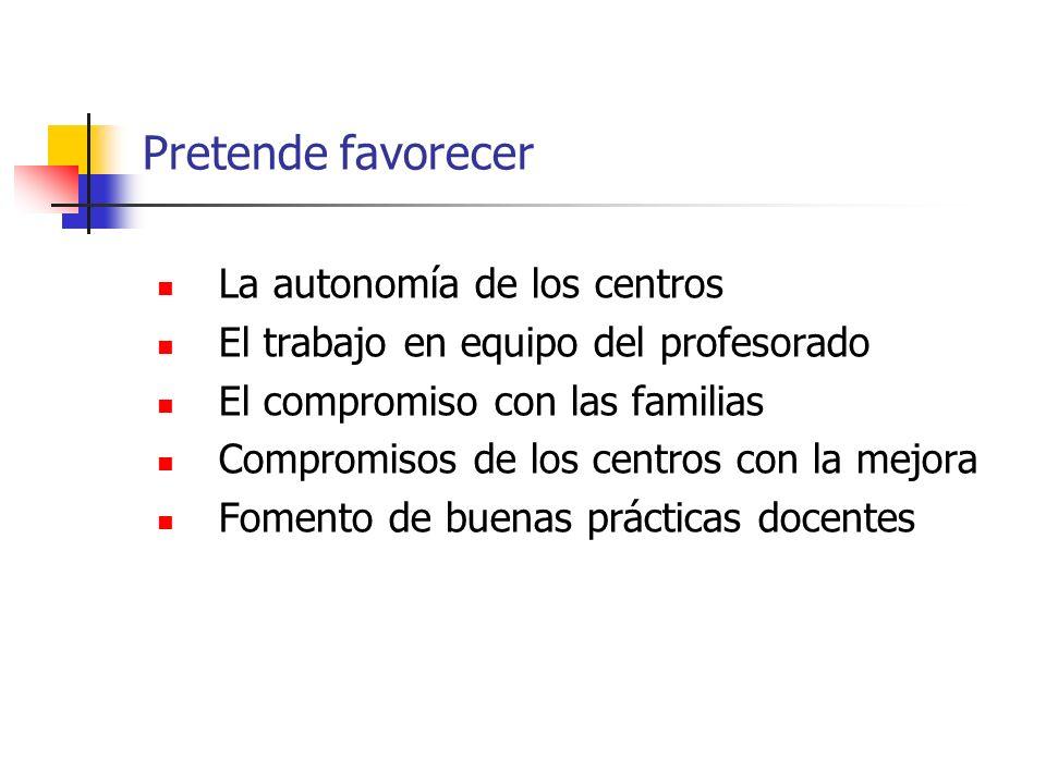 Pretende favorecer La autonomía de los centros El trabajo en equipo del profesorado El compromiso con las familias Compromisos de los centros con la m