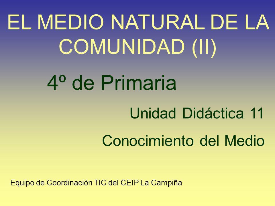 4º de Primaria Unidad Didáctica 11 Conocimiento del Medio EL MEDIO NATURAL DE LA COMUNIDAD (II) Equipo de Coordinación TIC del CEIP La Campiña