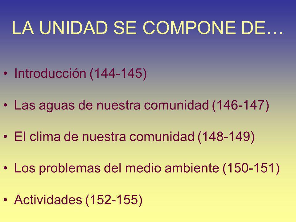 LA UNIDAD SE COMPONE DE… Introducción (144-145) Las aguas de nuestra comunidad (146-147) El clima de nuestra comunidad (148-149) Los problemas del med