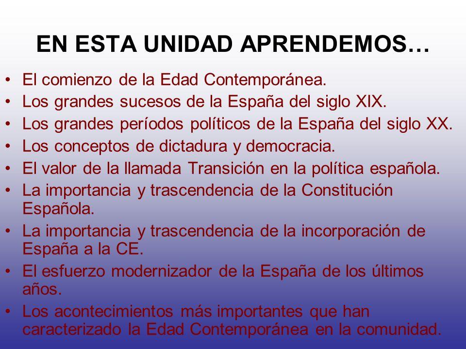 EN ESTA UNIDAD APRENDEMOS… El comienzo de la Edad Contemporánea. Los grandes sucesos de la España del siglo XIX. Los grandes períodos políticos de la