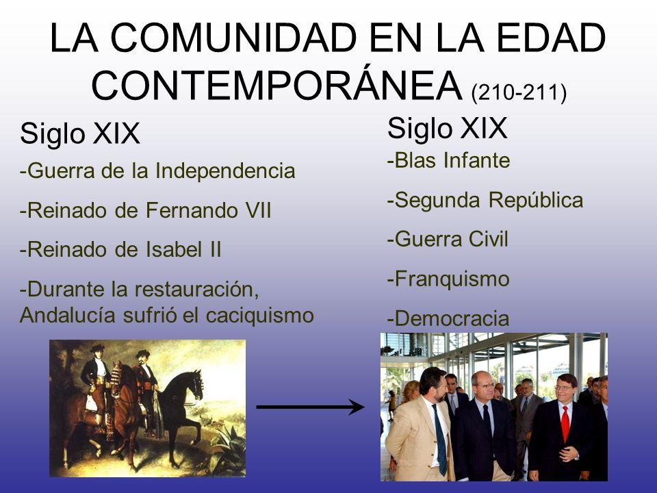 LA COMUNIDAD EN LA EDAD CONTEMPORÁNEA (210-211) Siglo XIX -Guerra de la Independencia -Reinado de Fernando VII -Reinado de Isabel II -Durante la resta