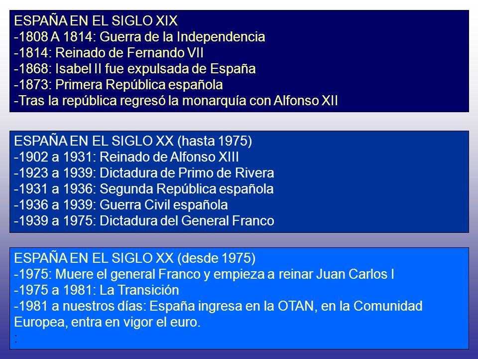 ESPAÑA EN EL SIGLO XIX -1808 A 1814: Guerra de la Independencia -1814: Reinado de Fernando VII -1868: Isabel II fue expulsada de España -1873: Primera