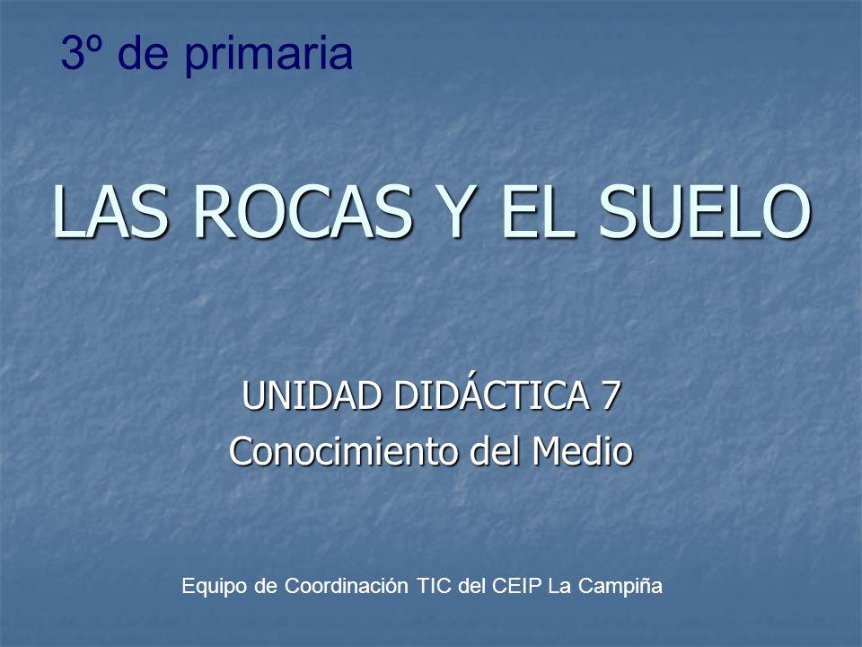 LAS ROCAS Y EL SUELO UNIDAD DIDÁCTICA 7 Conocimiento del Medio Equipo de Coordinación TIC del CEIP La Campiña 3º de primaria