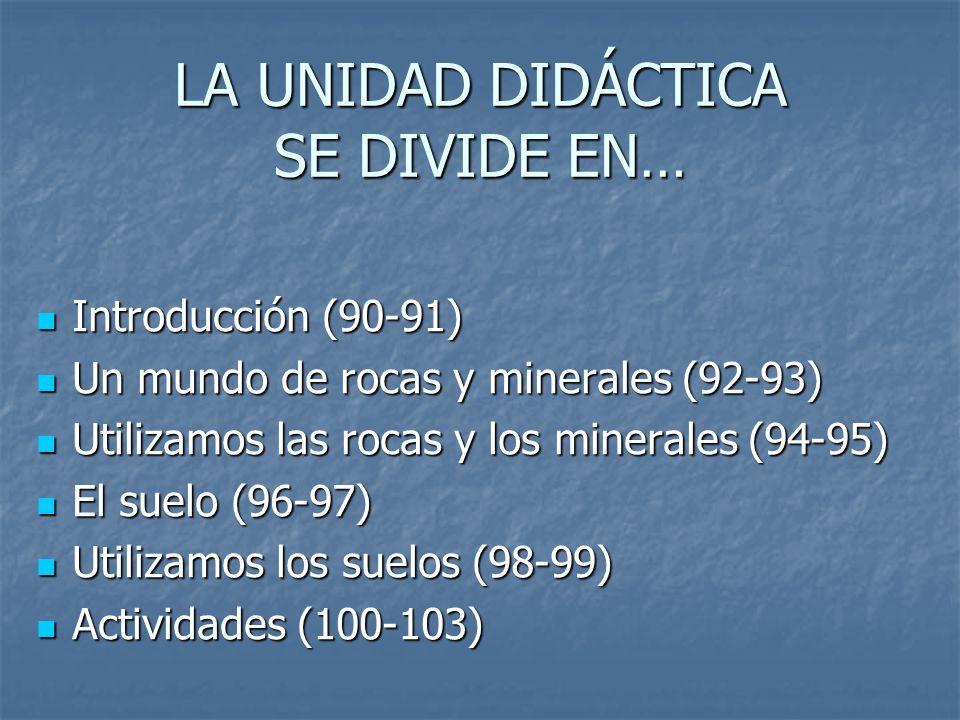 LA UNIDAD DIDÁCTICA SE DIVIDE EN… Introducción (90-91) Introducción (90-91) Un mundo de rocas y minerales (92-93) Un mundo de rocas y minerales (92-93