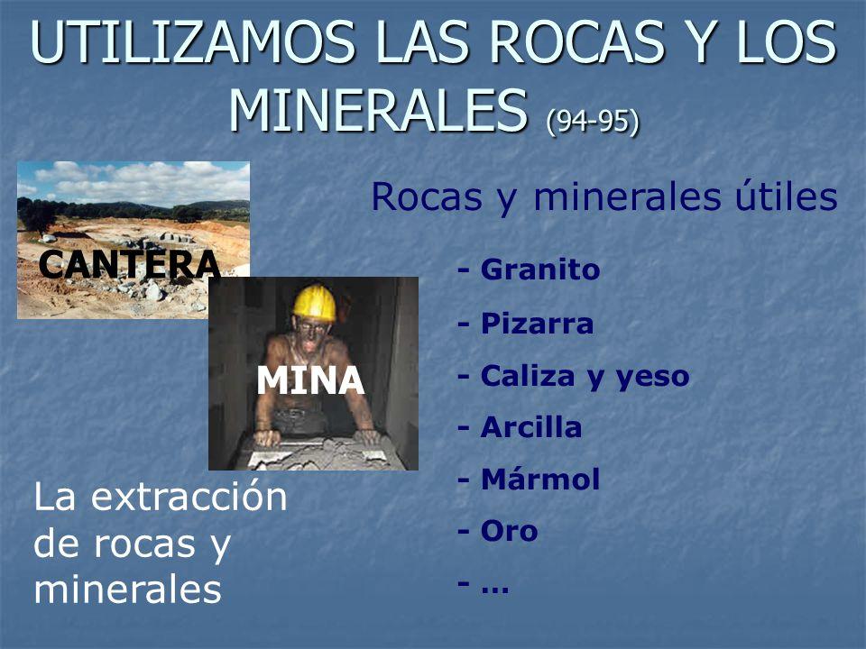 UTILIZAMOS LAS ROCAS Y LOS MINERALES (94-95) Rocas y minerales útiles - Granito - Pizarra - Caliza y yeso - Arcilla - Mármol - Oro - … La extracción d