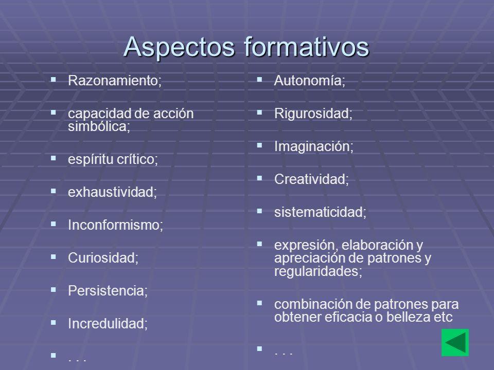 12 Aspectos formativos Razonamiento; capacidad de acción simbólica; espíritu crítico; exhaustividad; Inconformismo; Curiosidad; Persistencia; Incredul