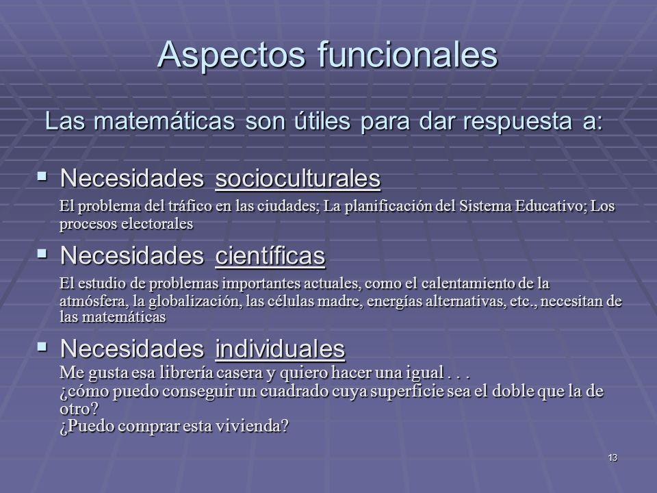 13 Las matemáticas son útiles para dar respuesta a: Necesidades socioculturales Necesidades socioculturales El problema del tráfico en las ciudades; L