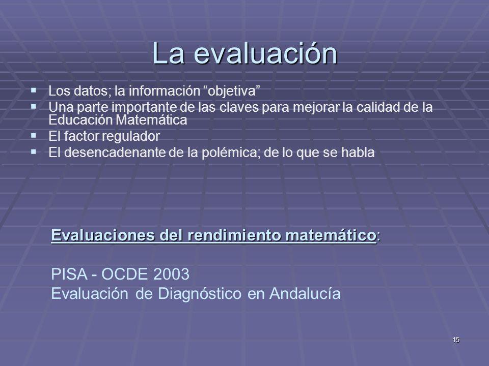 15 La evaluación Los datos; la información objetiva Una parte importante de las claves para mejorar la calidad de la Educación Matemática El factor re