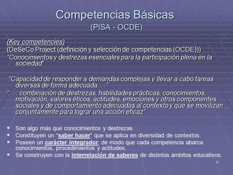 19 Competencias Básicas (PISA - OCDE) (Key competencies) (DeSeCo Project (definición y selección de competencias (OCDE))) Conocimientos y destrezas es