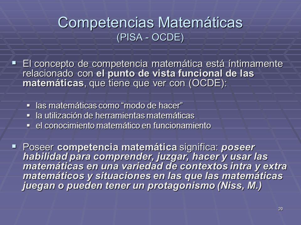 20 El concepto de competencia matemática está íntimamente relacionado con el punto de vista funcional de las matemáticas, que tiene que ver con (OCDE)