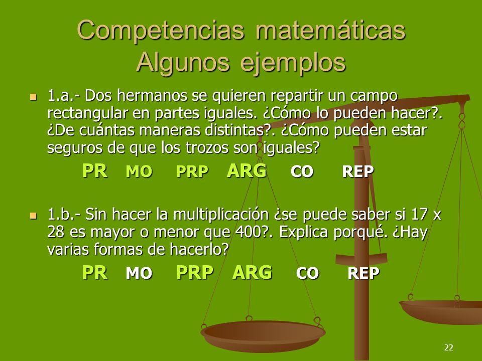 22 Competencias matemáticas Algunos ejemplos 1.a.- Dos hermanos se quieren repartir un campo rectangular en partes iguales. ¿Cómo lo pueden hacer?. ¿D