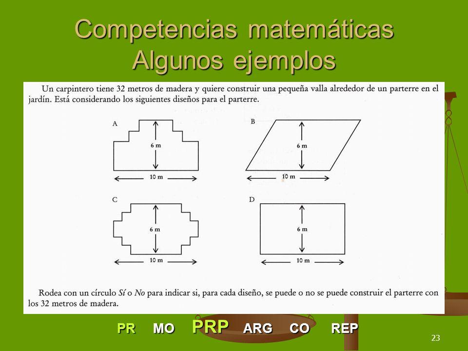 23 Competencias matemáticas Algunos ejemplos PR MO PRP ARG CO REP
