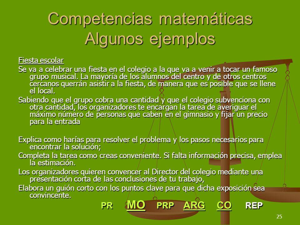25 Competencias matemáticas Algunos ejemplos Fiesta escolar Se va a celebrar una fiesta en el colegio a la que va a venir a tocar un famoso grupo musi