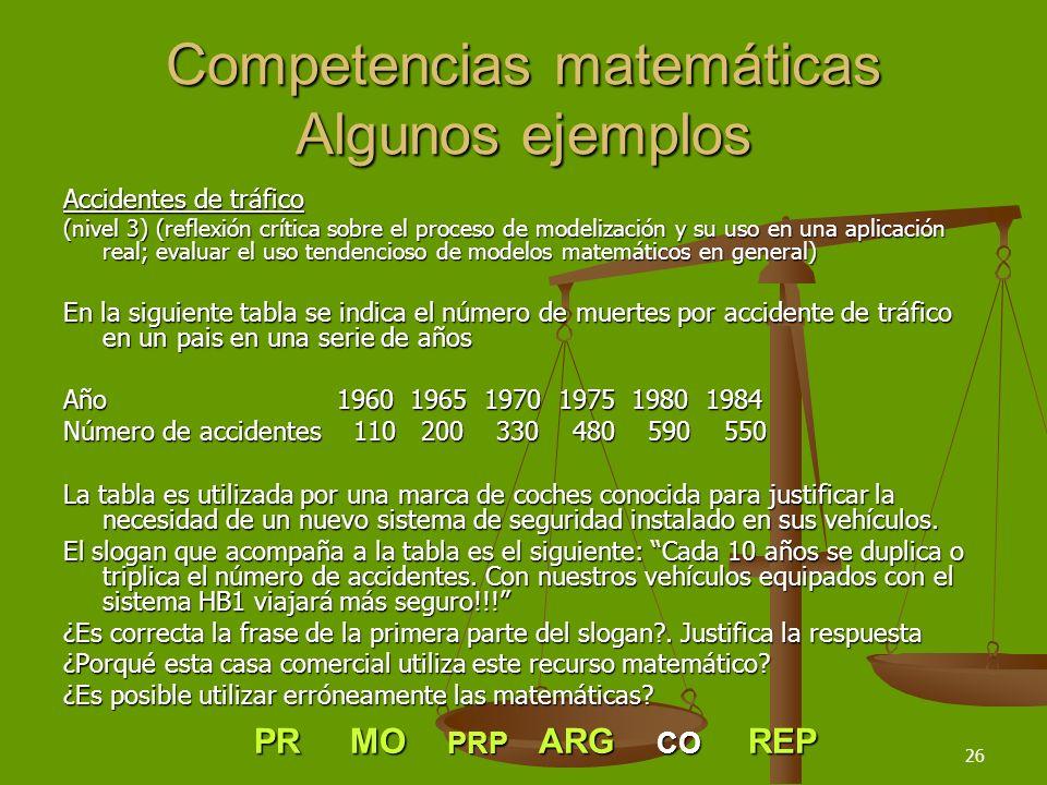 26 Competencias matemáticas Algunos ejemplos Accidentes de tráfico (nivel 3) (reflexión crítica sobre el proceso de modelización y su uso en una aplic