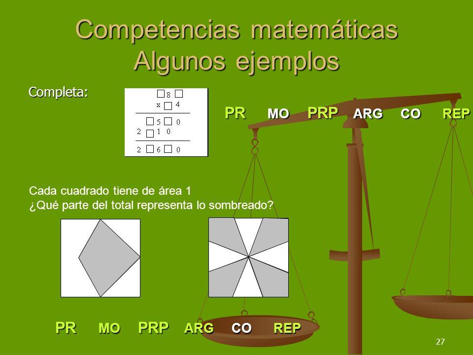 27 Competencias matemáticas Algunos ejemplos Completa: PR MO PRP ARG CO REP Cada cuadrado tiene de área 1 ¿Qué parte del total representa lo sombreado