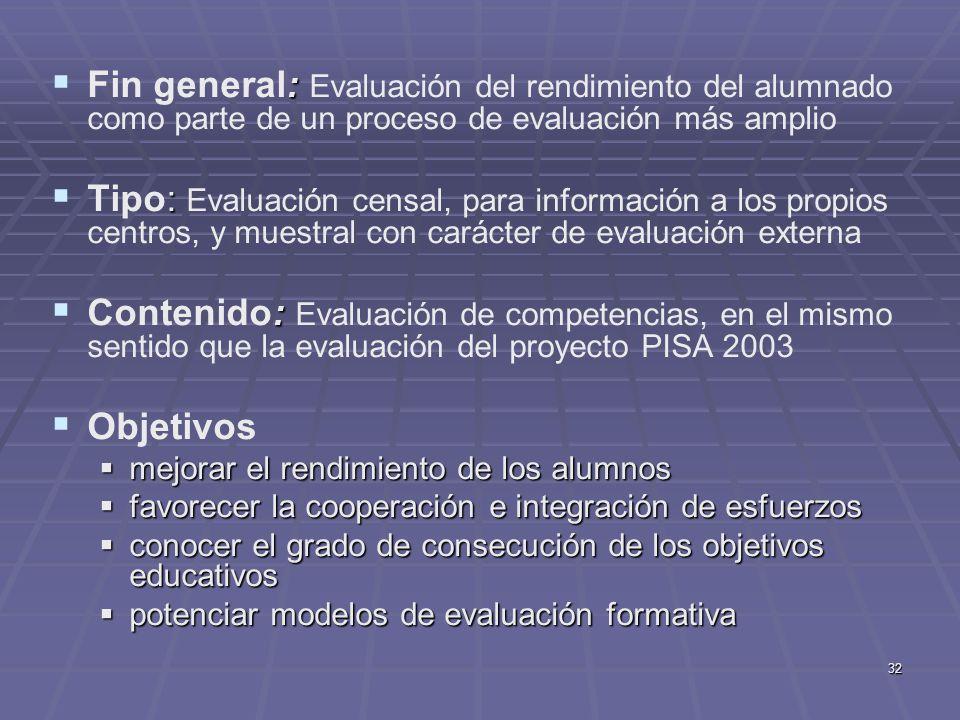 32 : Fin general: Evaluación del rendimiento del alumnado como parte de un proceso de evaluación más amplio : Tipo: Evaluación censal, para informació