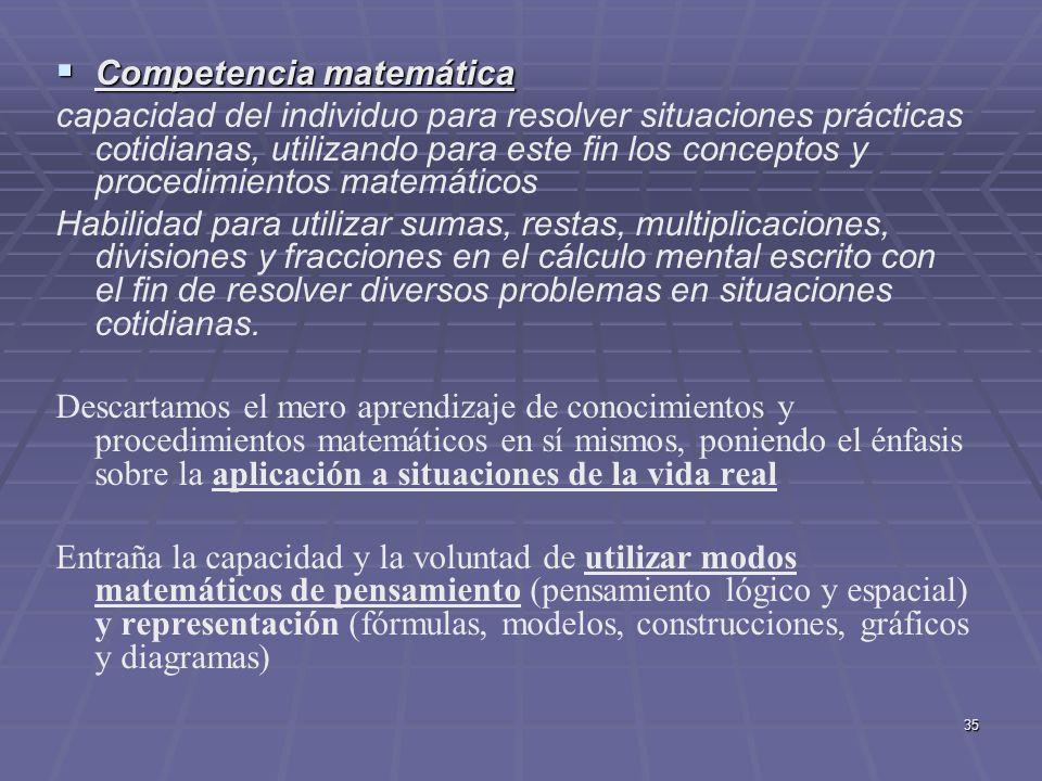 35 Competencia matemática Competencia matemática capacidad del individuo para resolver situaciones prácticas cotidianas, utilizando para este fin los