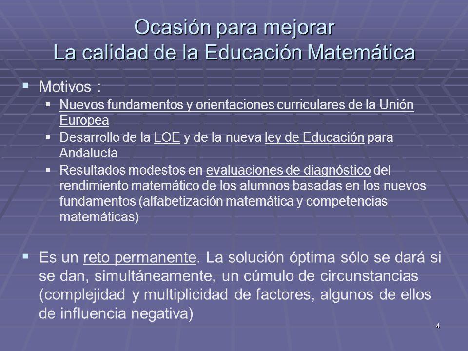 4 Ocasión para mejorar La calidad de la Educación Matemática Motivos : Nuevos fundamentos y orientaciones curriculares de la Unión Europea Desarrollo