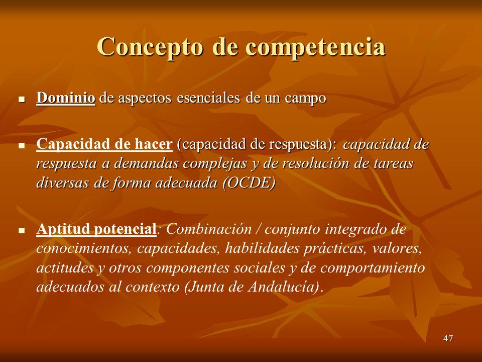 47 Concepto de competencia Dominio de aspectos esenciales de un campo Dominio de aspectos esenciales de un campo (capacidad de respuesta): capacidad d