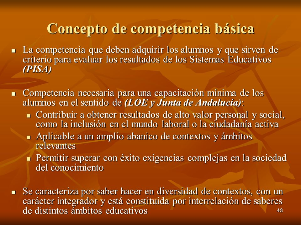 48 Concepto de competencia básica La competencia que deben adquirir los alumnos y que sirven de criterio para evaluar los resultados de los Sistemas E