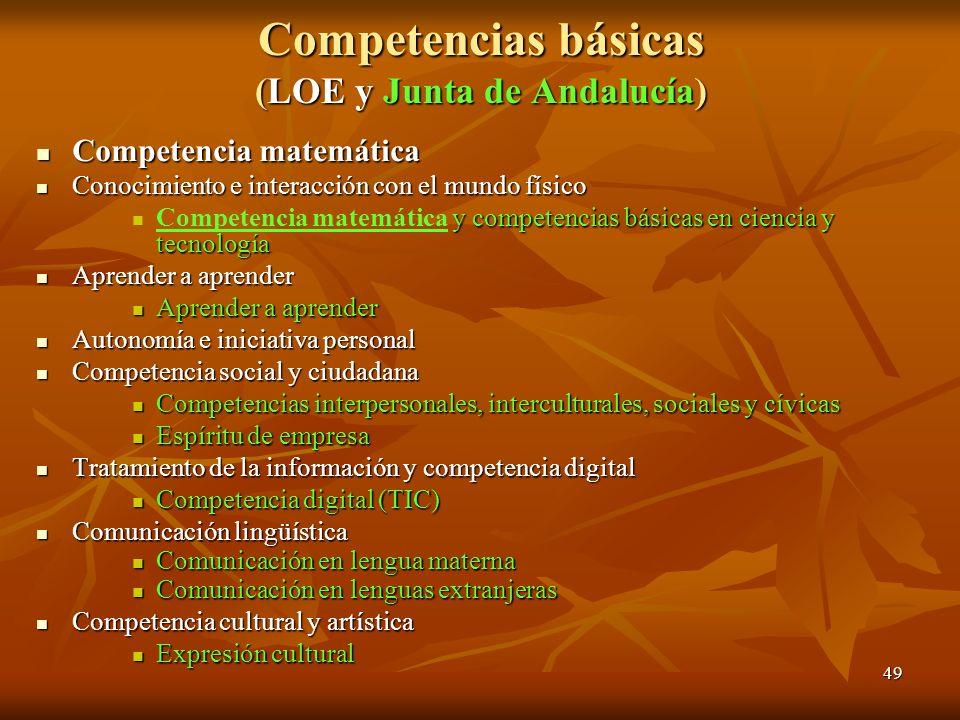 49 Competencias básicas (LOE y Junta de Andalucía) Competencia matemática Competencia matemática Conocimiento e interacción con el mundo físico Conoci