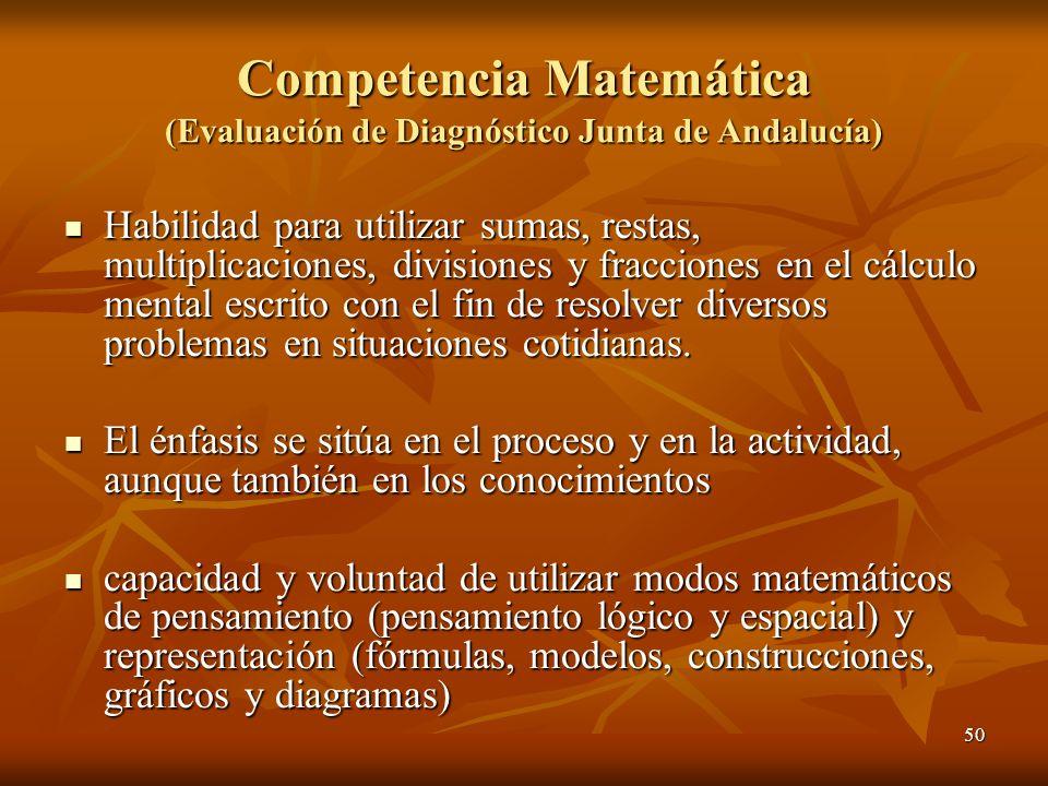 50 Competencia Matemática (Evaluación de Diagnóstico Junta de Andalucía) Habilidad para utilizar sumas, restas, multiplicaciones, divisiones y fraccio