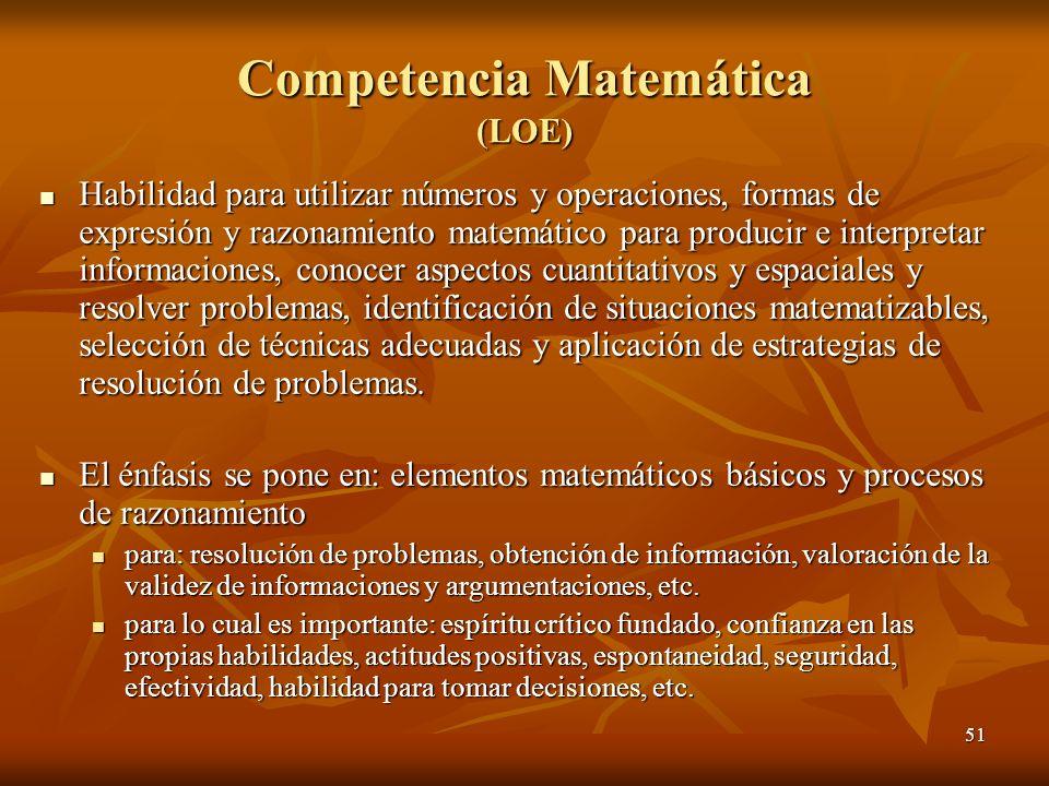 51 Competencia Matemática (LOE) Habilidad para utilizar números y operaciones, formas de expresión y razonamiento matemático para producir e interpret