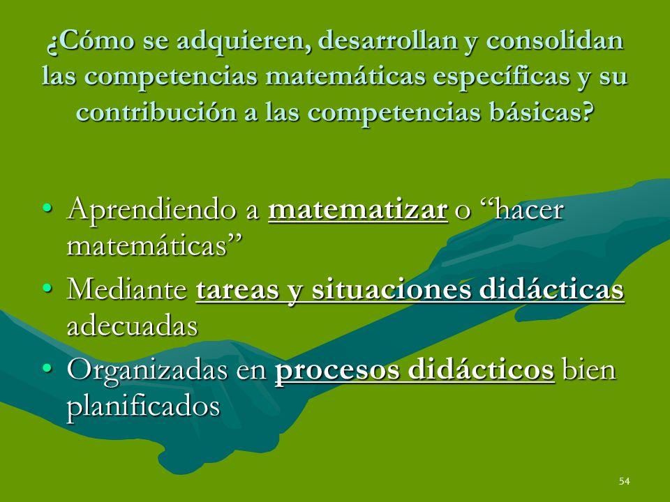 54 ¿Cómo se adquieren, desarrollan y consolidan las competencias matemáticas específicas y su contribución a las competencias básicas? Aprendiendo a m