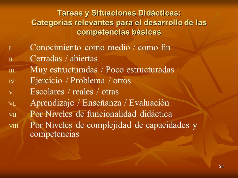 58 Tareas y Situaciones Didácticas: Categorías relevantes para el desarrollo de las competencias básicas I. I. Conocimiento como medio / como fin II.