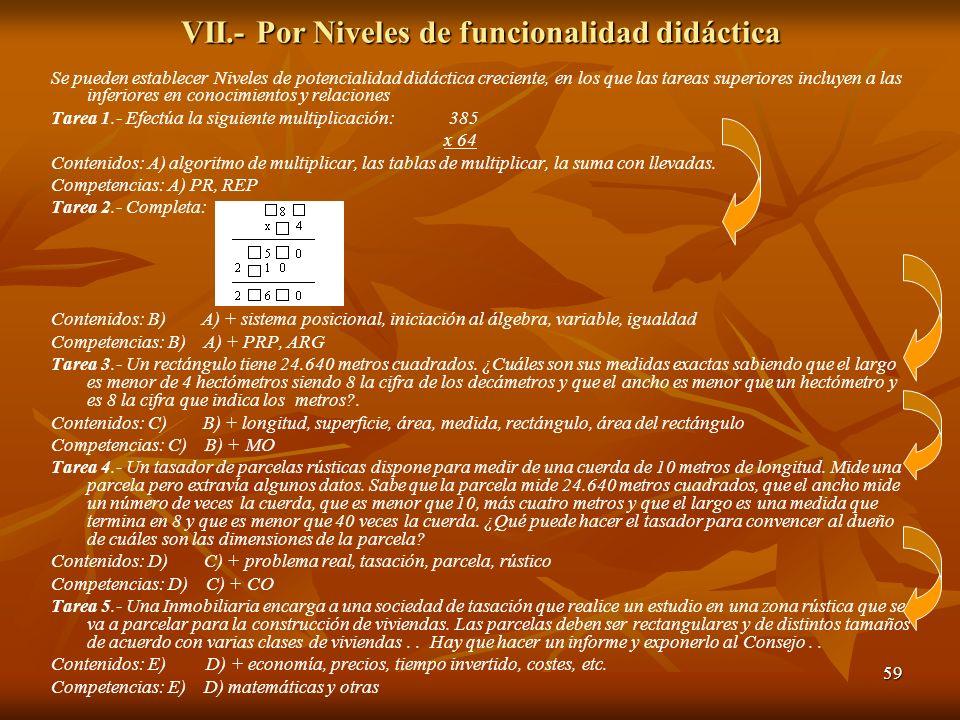 59 VII.- Por Niveles de funcionalidad didáctica Se pueden establecer Niveles de potencialidad didáctica creciente, en los que las tareas superiores in