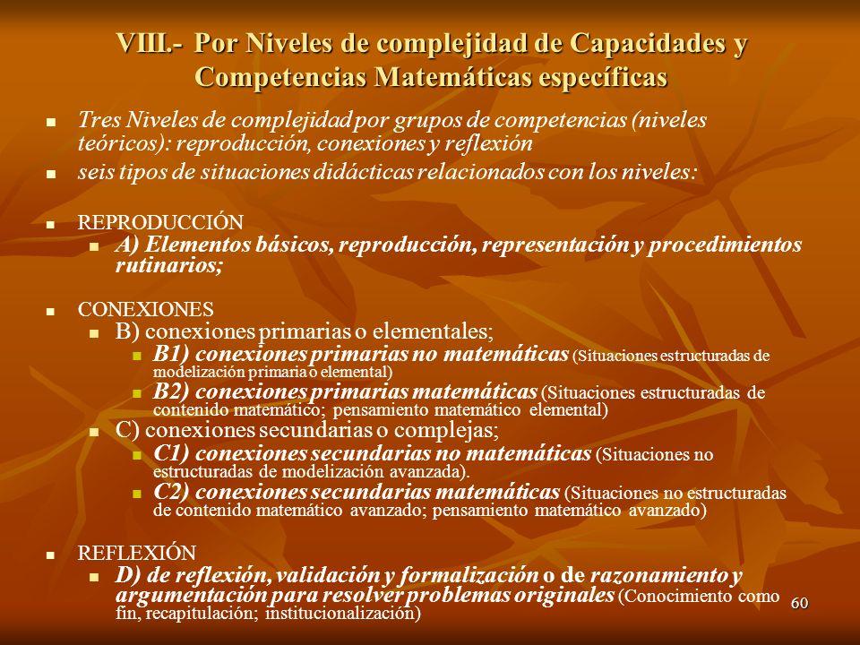 60 VIII.- Por Niveles de complejidad de Capacidades y Competencias Matemáticas específicas Tres Niveles de complejidad por grupos de competencias (niv