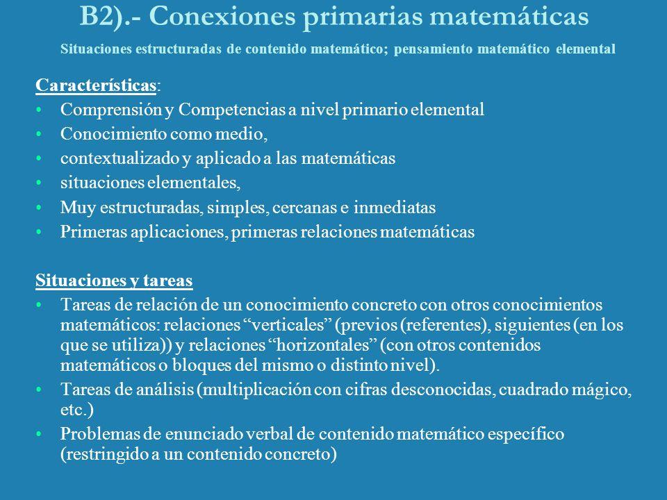 B2).- Conexiones primarias matemáticas Situaciones estructuradas de contenido matemático; pensamiento matemático elemental Características: Comprensió