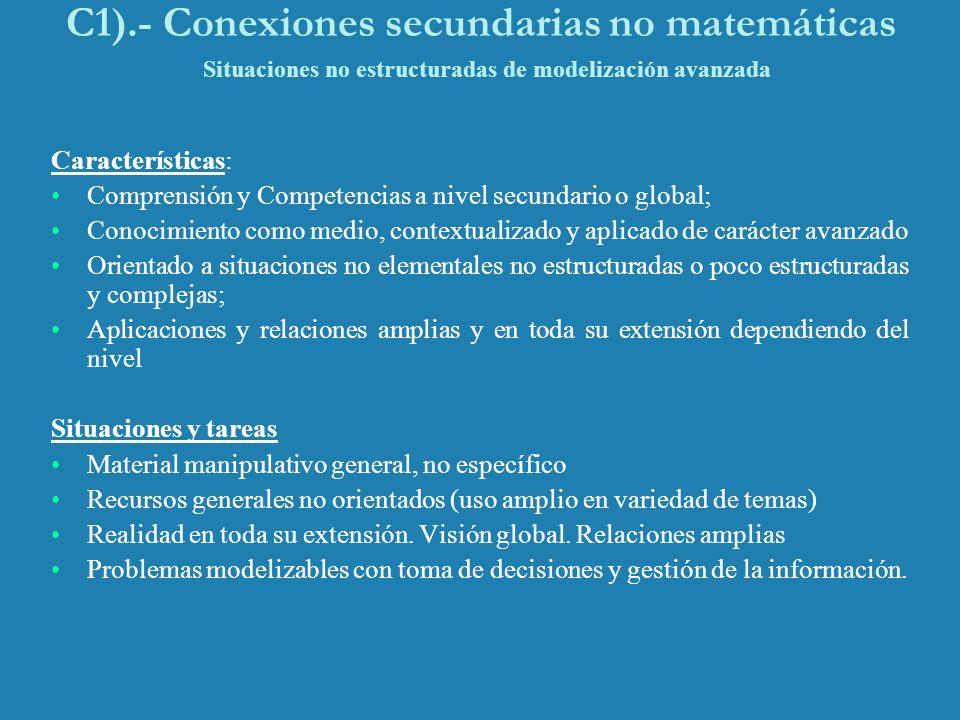 C1).- Conexiones secundarias no matemáticas Situaciones no estructuradas de modelización avanzada Características: Comprensión y Competencias a nivel