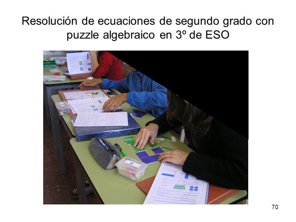 70 Resolución de ecuaciones de segundo grado con puzzle algebraico en 3º de ESO