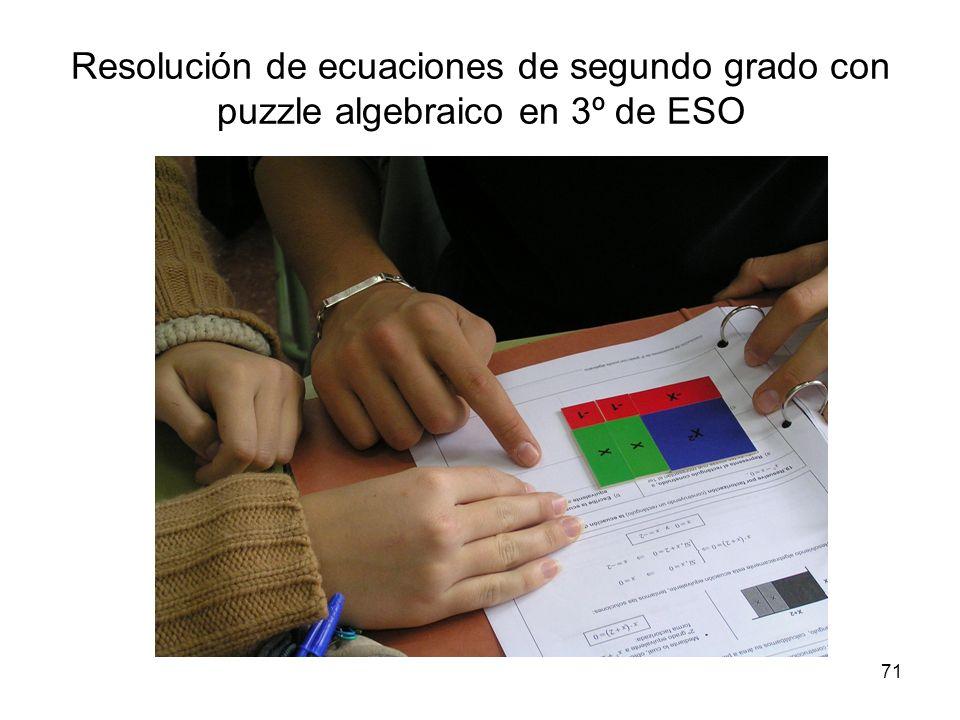 71 Resolución de ecuaciones de segundo grado con puzzle algebraico en 3º de ESO