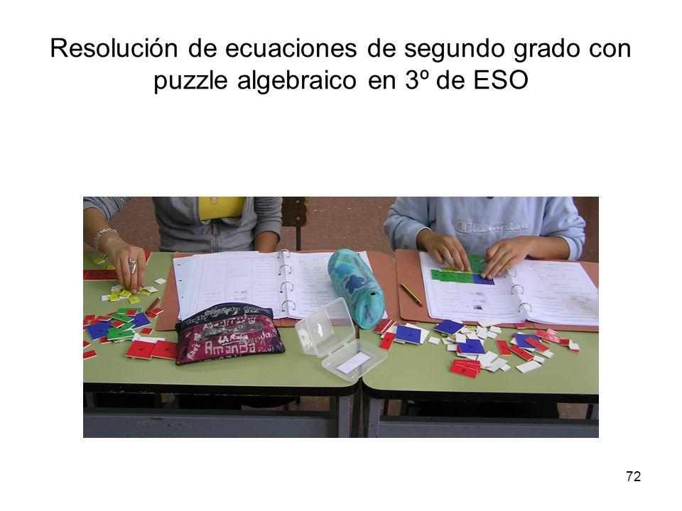 72 Resolución de ecuaciones de segundo grado con puzzle algebraico en 3º de ESO
