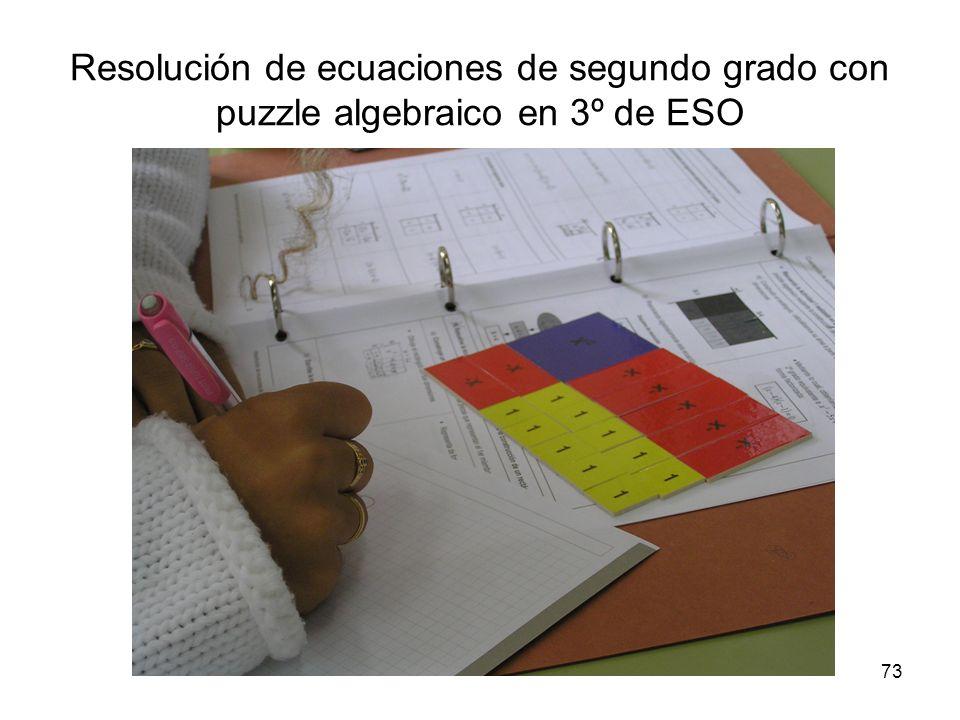 73 Resolución de ecuaciones de segundo grado con puzzle algebraico en 3º de ESO