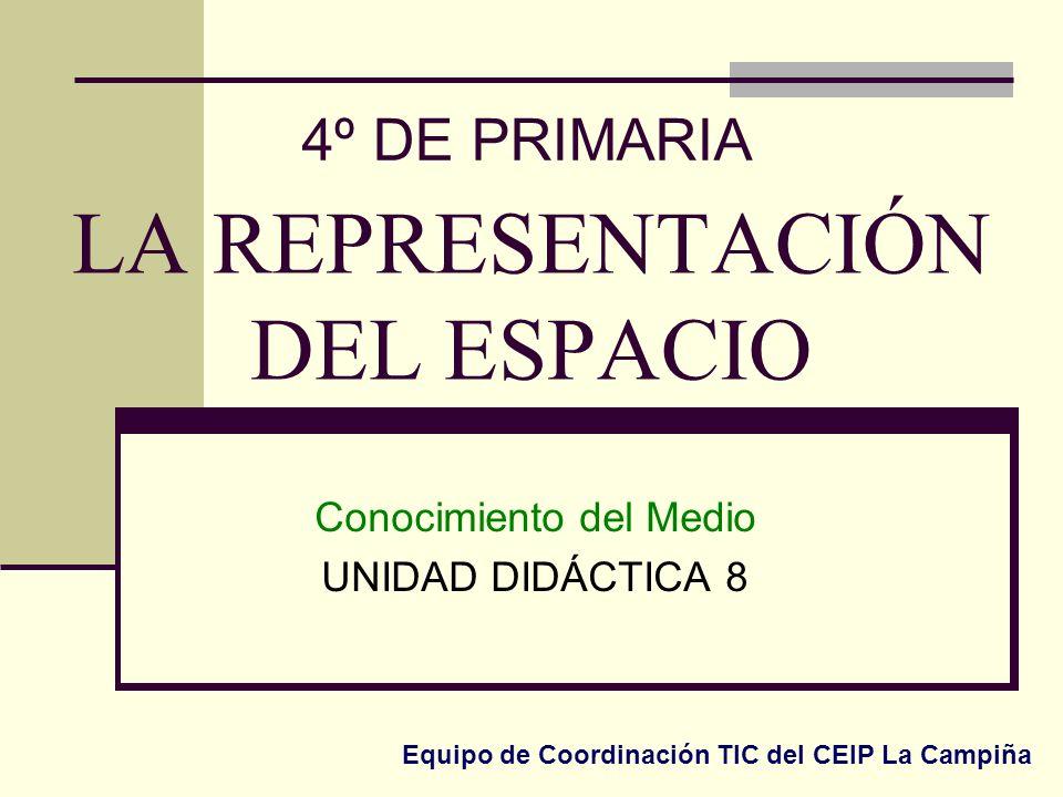 LA REPRESENTACIÓN DEL ESPACIO Conocimiento del Medio UNIDAD DIDÁCTICA 8 4º DE PRIMARIA Equipo de Coordinación TIC del CEIP La Campiña