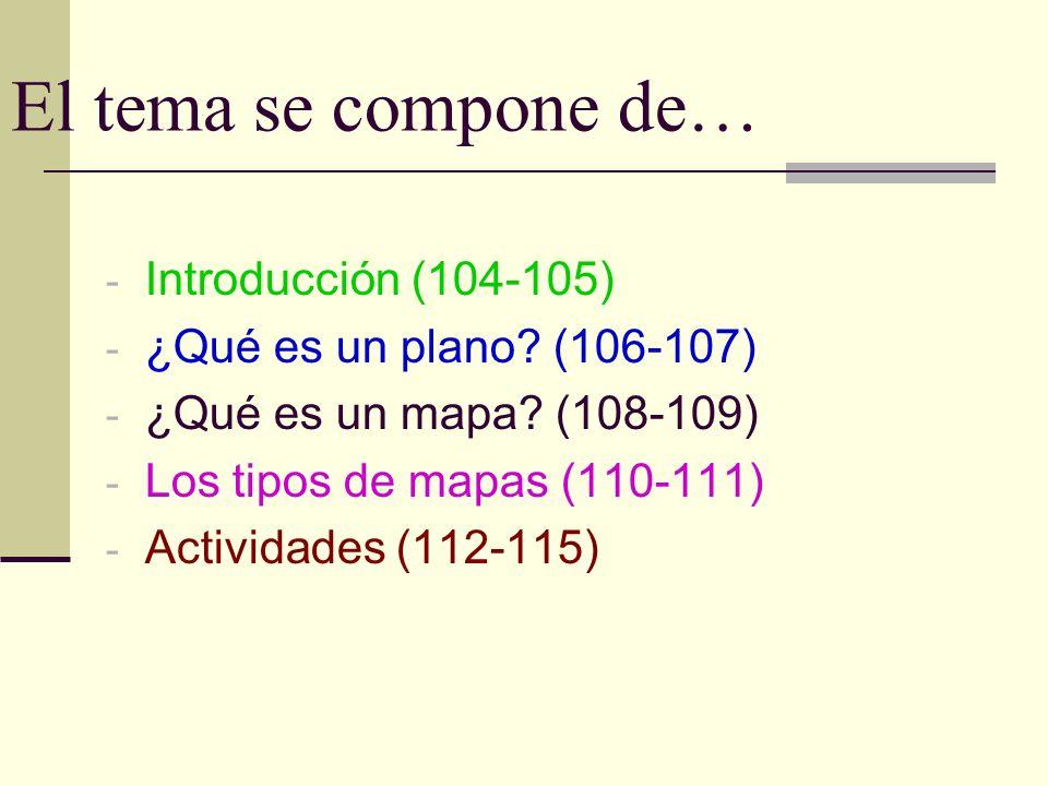 El tema se compone de… - Introducción (104-105) - ¿Qué es un plano? (106-107) - ¿Qué es un mapa? (108-109) - Los tipos de mapas (110-111) - Actividade