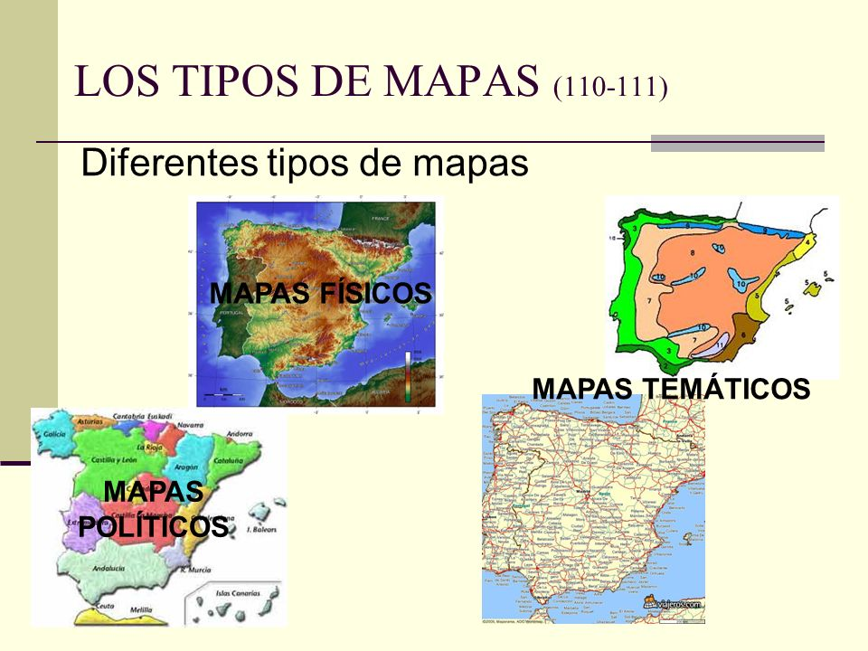 LOS TIPOS DE MAPAS (110-111) Diferentes tipos de mapas MAPAS FÍSICOS MAPAS POLÍTICOS MAPAS TEMÁTICOS