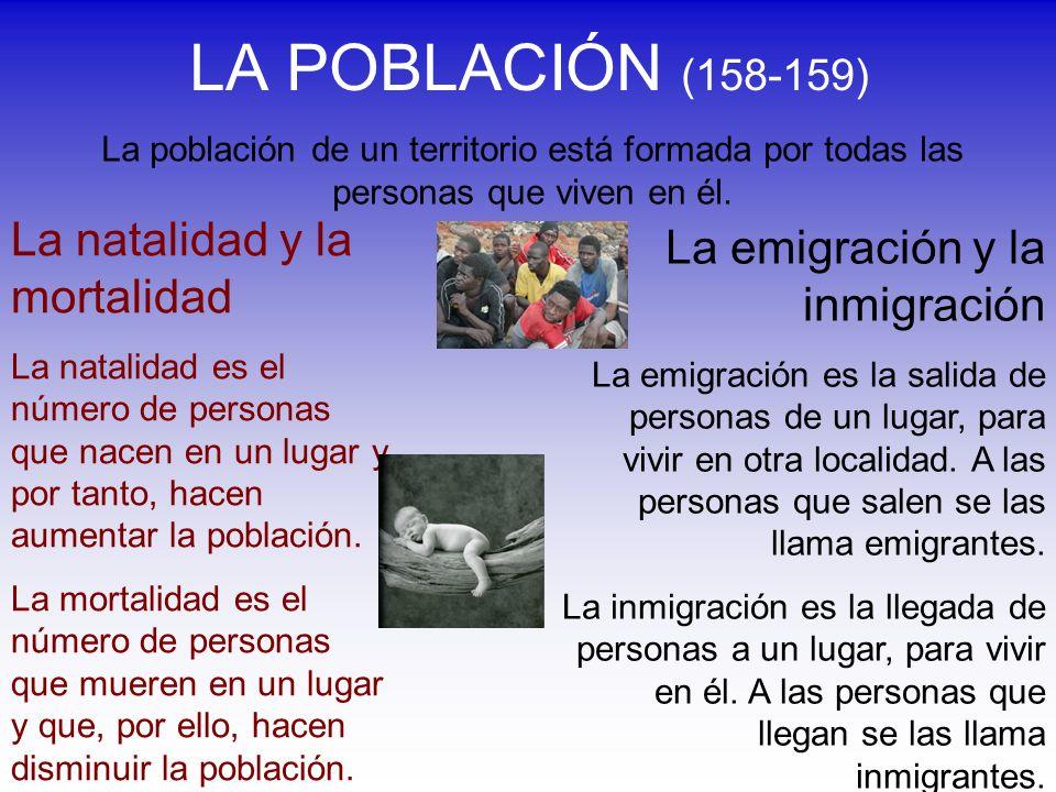 LA POBLACIÓN (158-159) La población de un territorio está formada por todas las personas que viven en él. La natalidad y la mortalidad La natalidad es