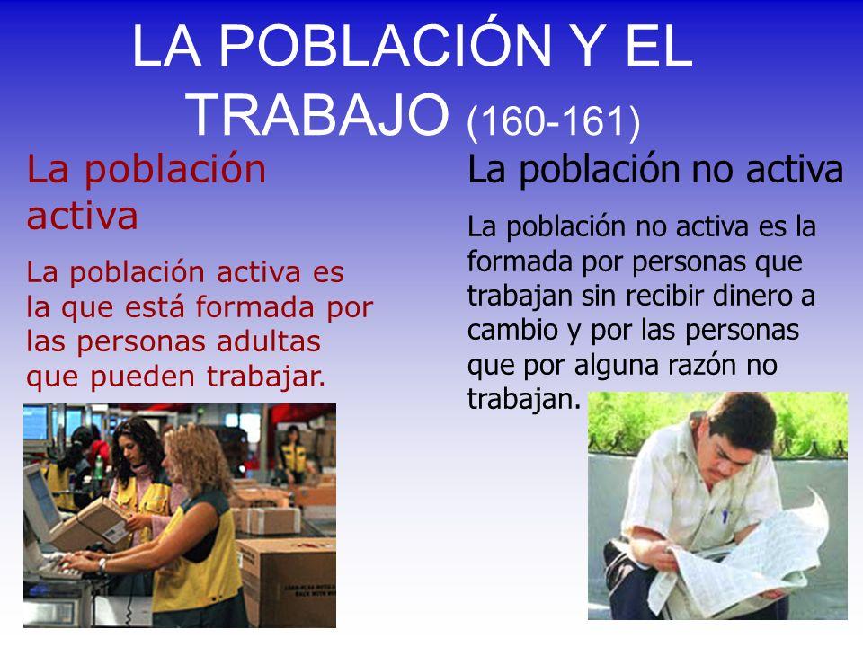 LA POBLACIÓN Y EL TRABAJO (160-161) La población activa La población activa es la que está formada por las personas adultas que pueden trabajar. La po
