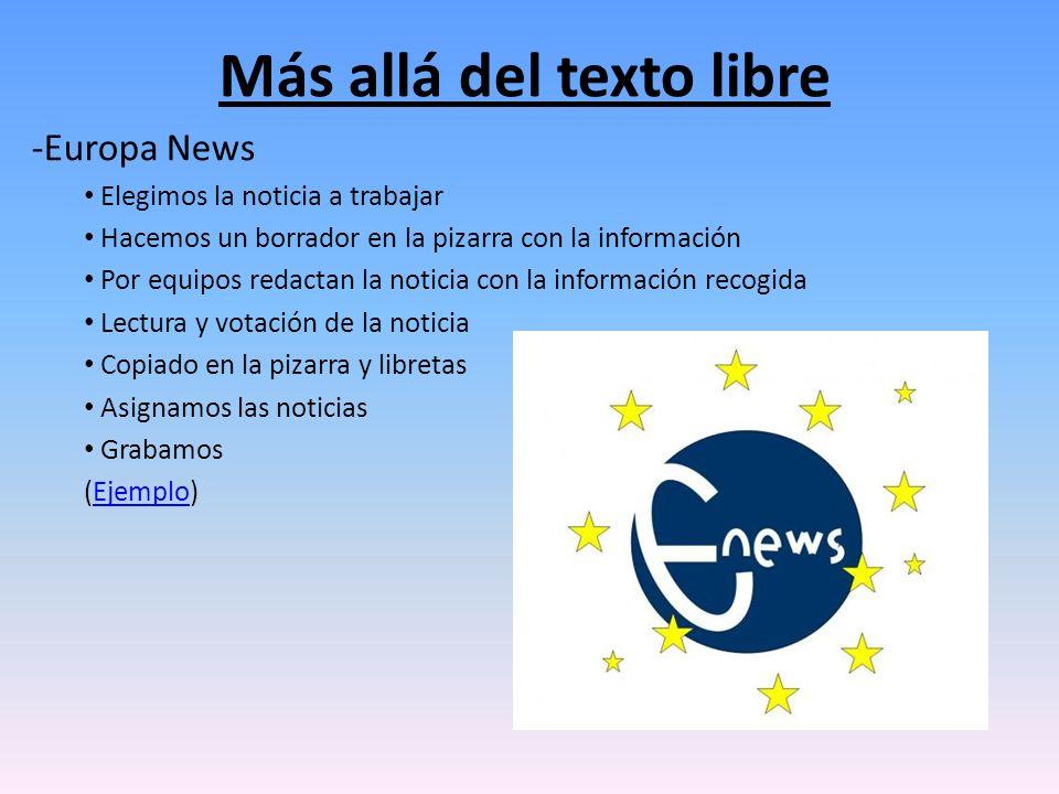 Más allá del texto libre -Europa News Elegimos la noticia a trabajar Hacemos un borrador en la pizarra con la información Por equipos redactan la noti