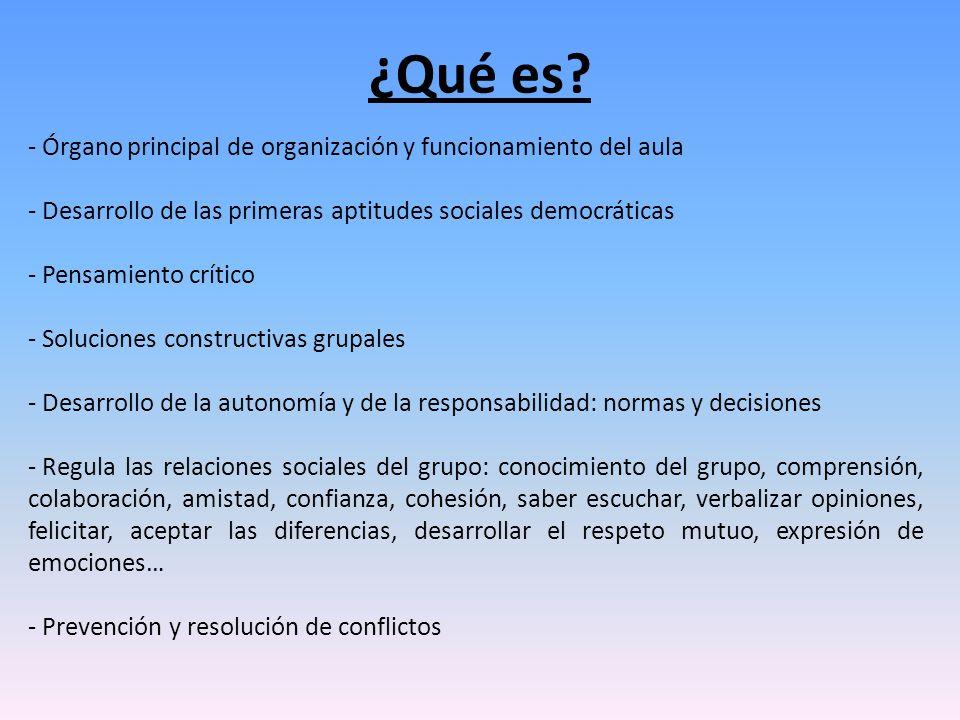 - Órgano principal de organización y funcionamiento del aula - Desarrollo de las primeras aptitudes sociales democráticas - Pensamiento crítico - Solu