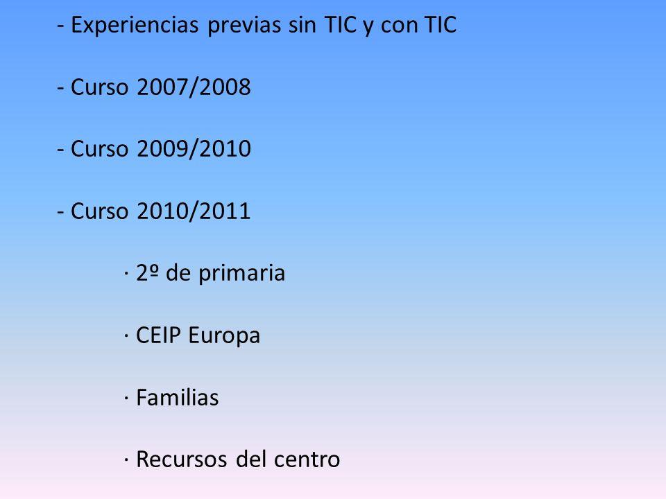 - Experiencias previas sin TIC y con TIC - Curso 2007/2008 - Curso 2009/2010 - Curso 2010/2011 · 2º de primaria · CEIP Europa · Familias · Recursos de