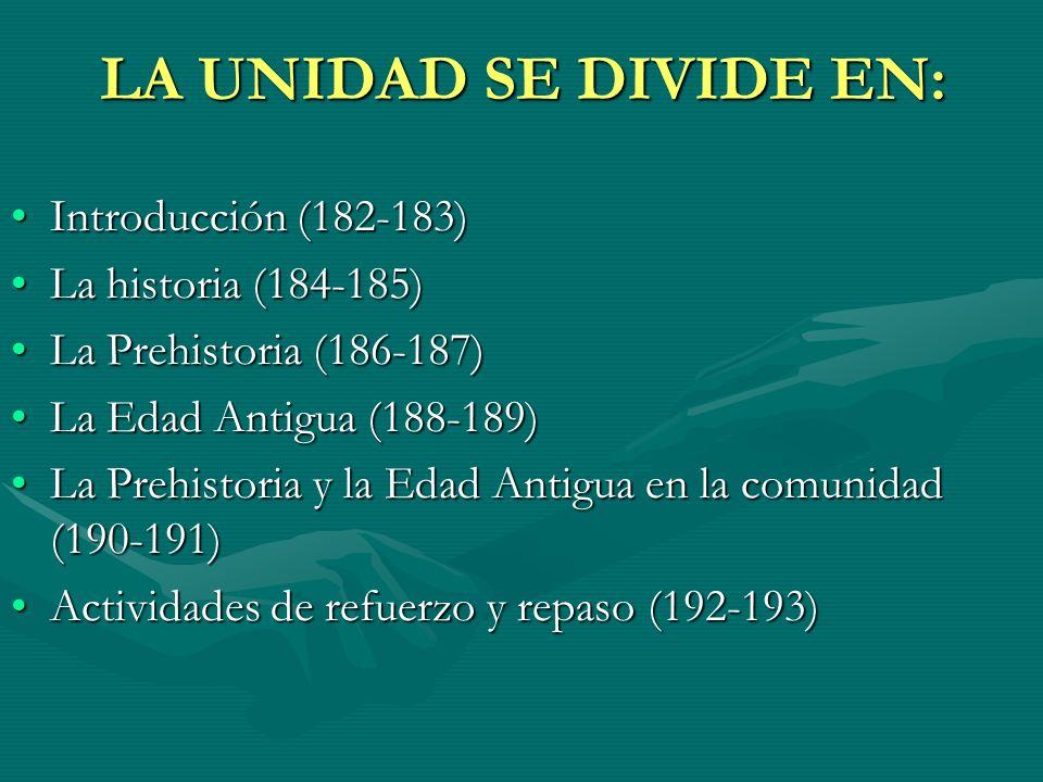 LA UNIDAD SE DIVIDE EN: Introducción (182-183)Introducción (182-183) La historia (184-185)La historia (184-185) La Prehistoria (186-187)La Prehistoria