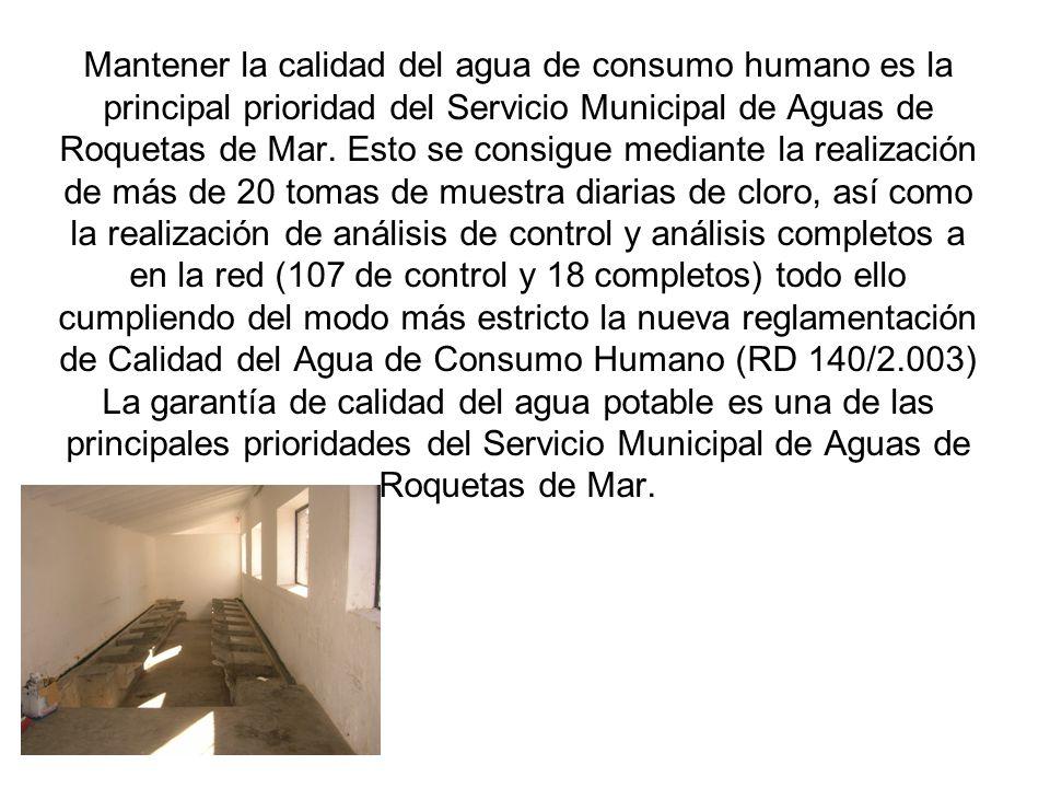 Mantener la calidad del agua de consumo humano es la principal prioridad del Servicio Municipal de Aguas de Roquetas de Mar. Esto se consigue mediante
