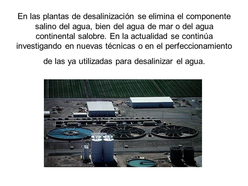 En las plantas de desalinización se elimina el componente salino del agua, bien del agua de mar o del agua continental salobre. En la actualidad se co