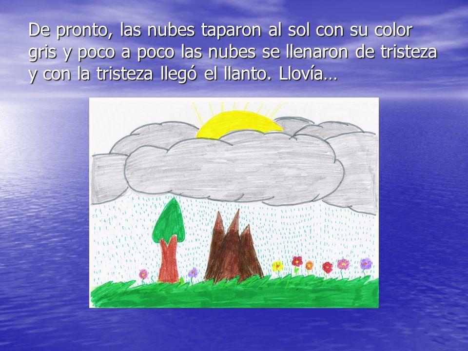 De pronto, las nubes taparon al sol con su color gris y poco a poco las nubes se llenaron de tristeza y con la tristeza llegó el llanto. Llovía…