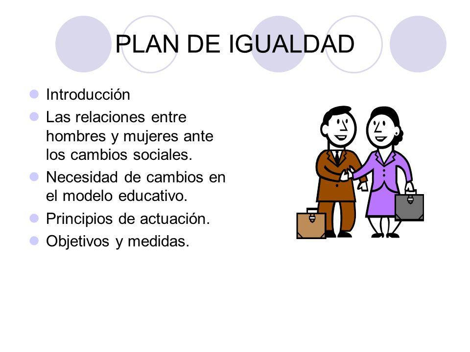 PLAN DE IGUALDAD Introducción Las relaciones entre hombres y mujeres ante los cambios sociales. Necesidad de cambios en el modelo educativo. Principio